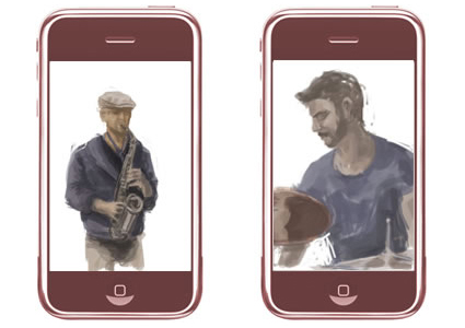 More Iphone doodles produced this time live during TRIOVD's gig at the Vortex in London.