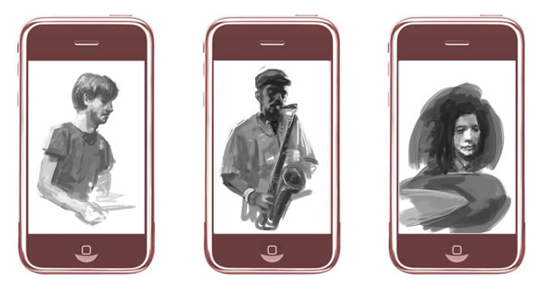 Here's a few sketches I did via the Brushes app on my Iphone whilst listening to the SONS OF KEMET performing live at the Vortex in London.