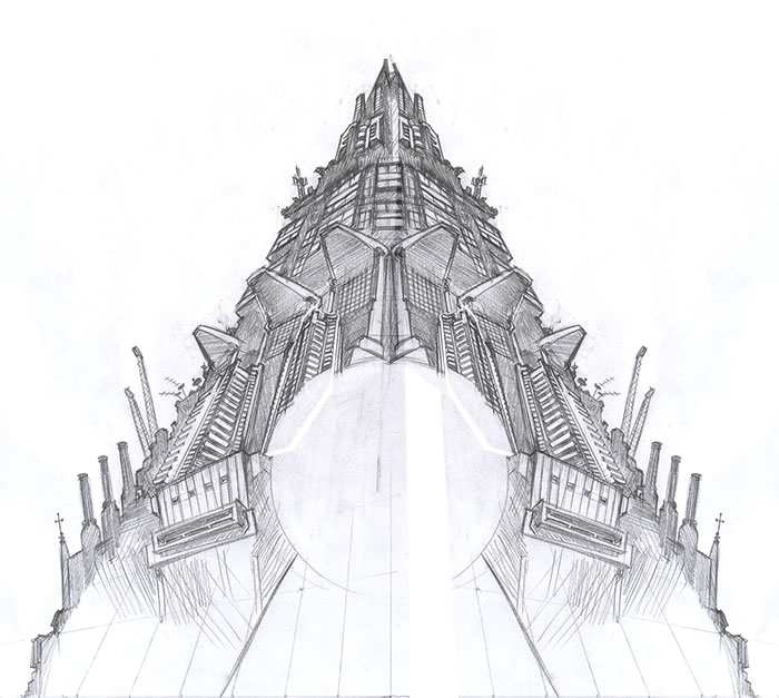 Rough pencil sketch of the pyramid motif used as part of the SONS OF KEMET artwork.