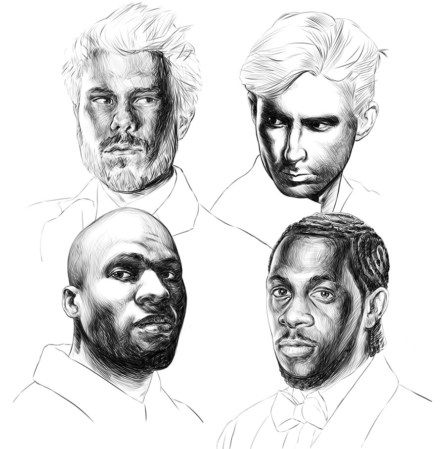 Initial sketch work done of the band members for EMPIRICAL's 'Tabula Rasa' album