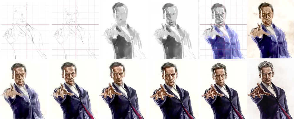 Progression of a little bit of fan art to commemorate Peter Capaldi taking over the reigns of the TARDIS