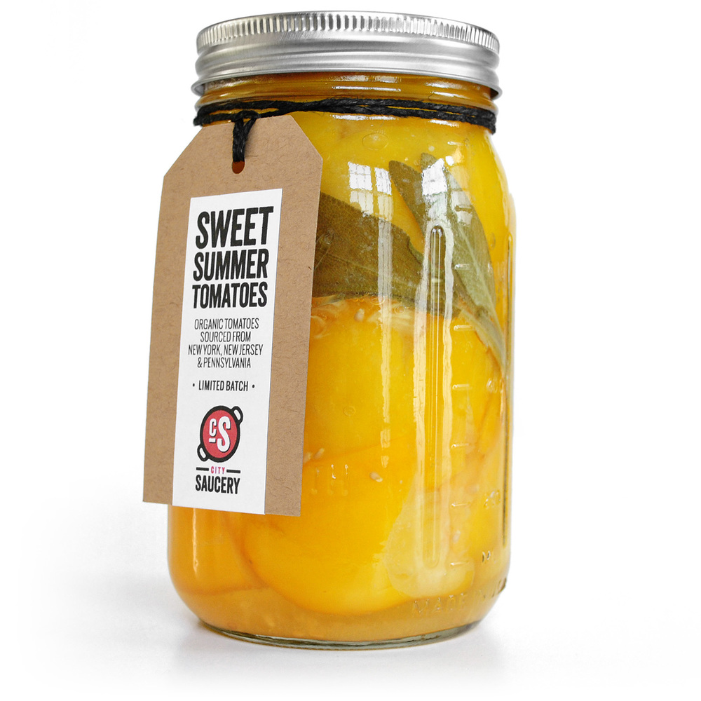 Preserved Sweet Golden Plum Tomatoes with Fresh Sage. 1 Qt Jar (32oz)