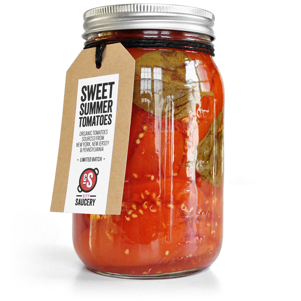 Preserved Summer Tomatoes with Basil. Handcrafted by City Saucery, New York City.