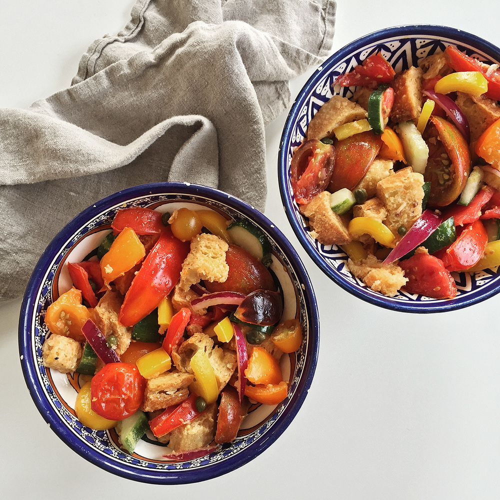 The key to panzanella is to let it sit for a while before serving.