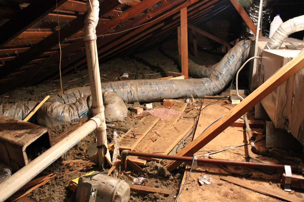 This is an HVAC system in an attic we found in Houston's Heights area.