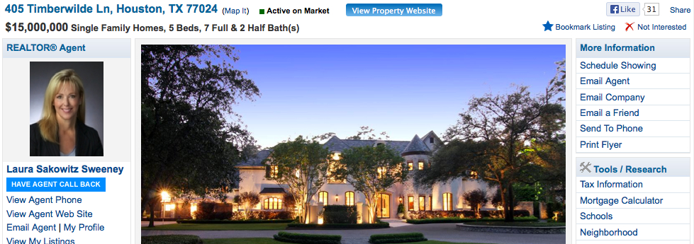 Houston Mansion $15mm for sale in Memorial TX