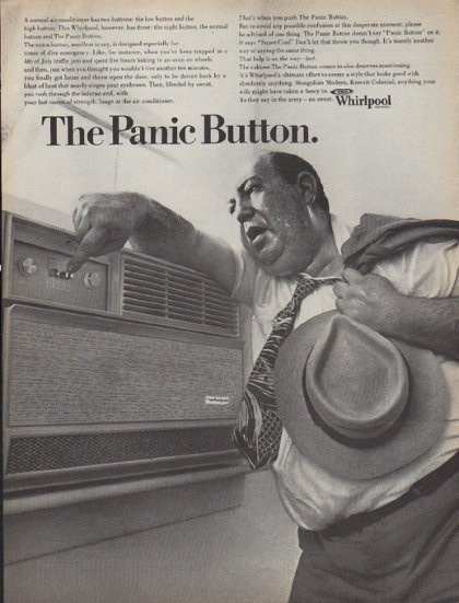 vintage whirlpool ac advertisement sweaty business man and panic button