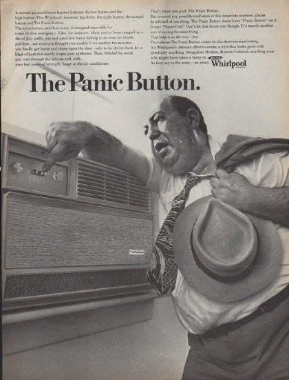 vintage whirlpool ac advertisement sweaty business man and panic button