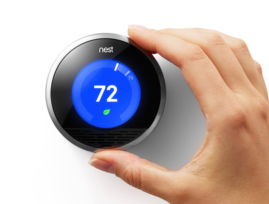 Nest thermostat advertisement with hand