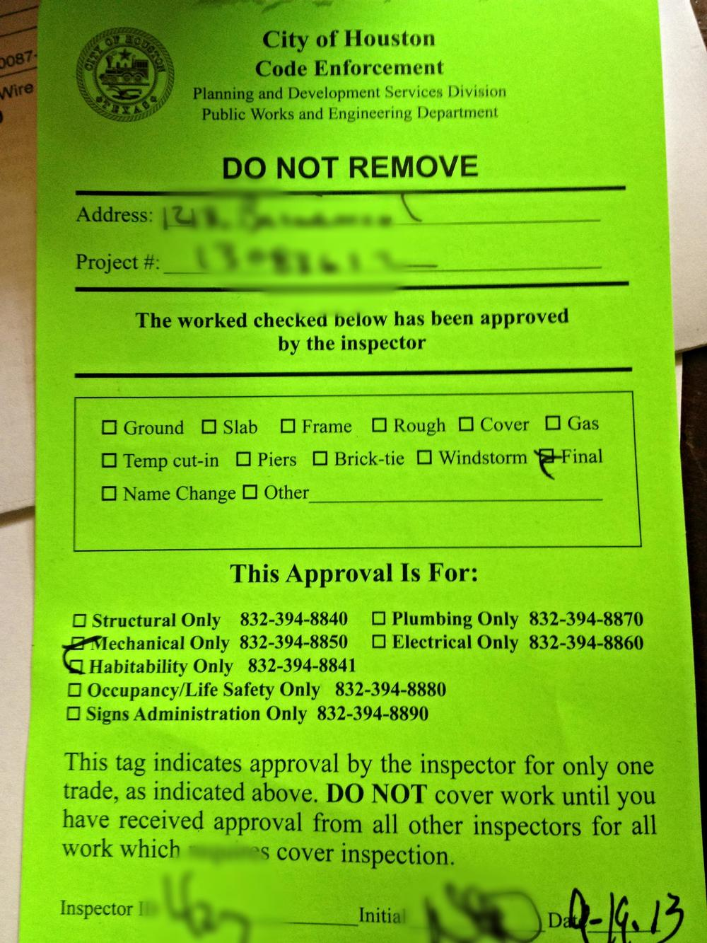 Approved Permit in City of Houston
