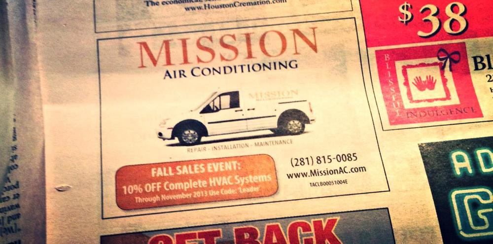 HVAC system Advertisement in Houston Heights Leader Newspaper
