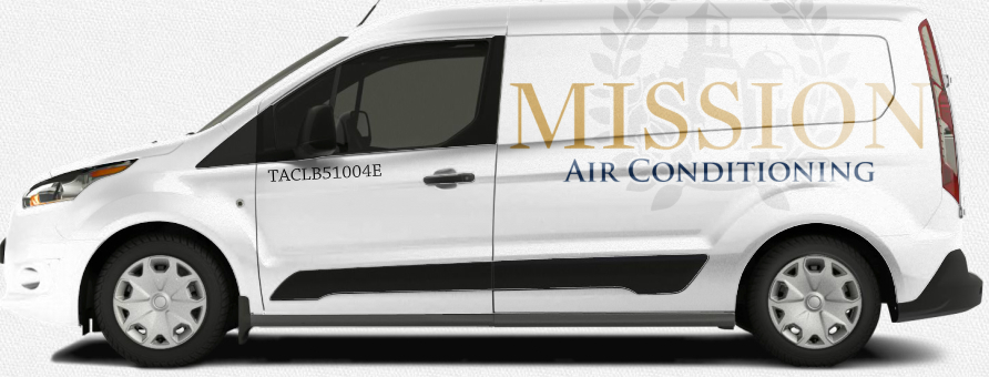 Mission Air Conditioning white vehicle ford transit design