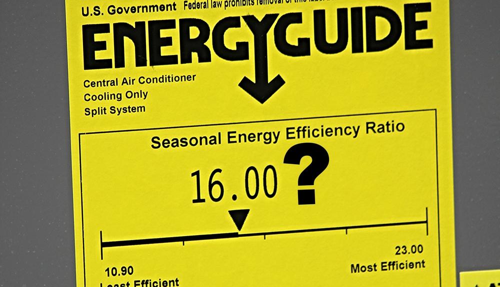 16 SEER Ruud Condenser Tag Energy Guide