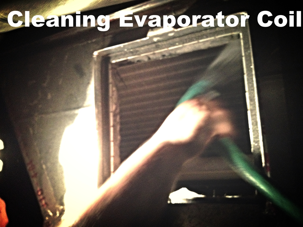 A/C evaporator coil cleaning during maintenance