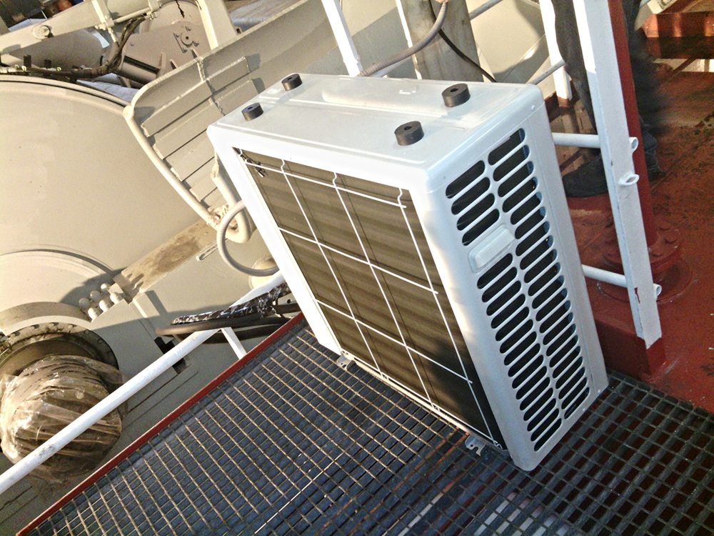 ductless minisplit installed on boat in galveston