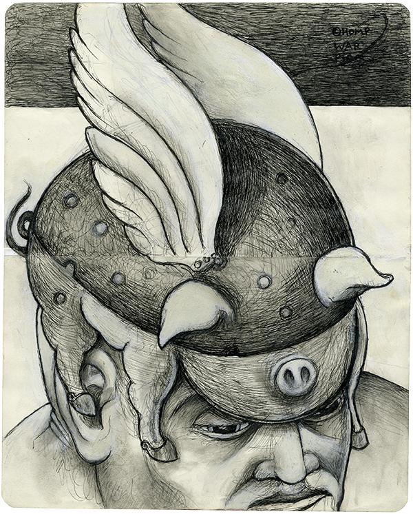 "The Art of War (War Pig) - 10 1/8"" x 8 3/32"" - Ink & Gesso - $1,100"