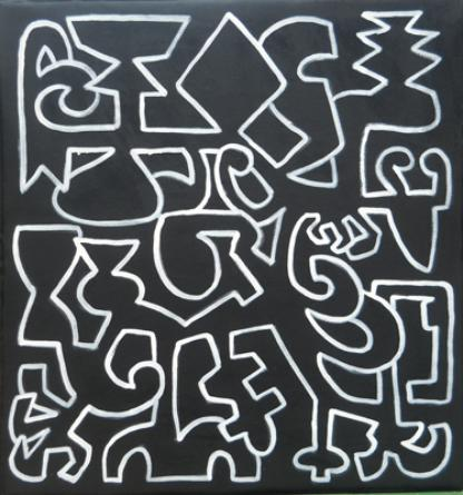 """Graffitus Naturalis: Night Kingdom"", acrylic on canvas, 40""X40"", 2013 $500"