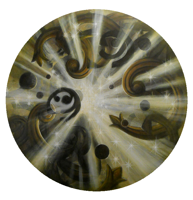 """Portal: Ecstatic Vision"", acrylic on canvas, 48""diameter, 2015 SOLD"