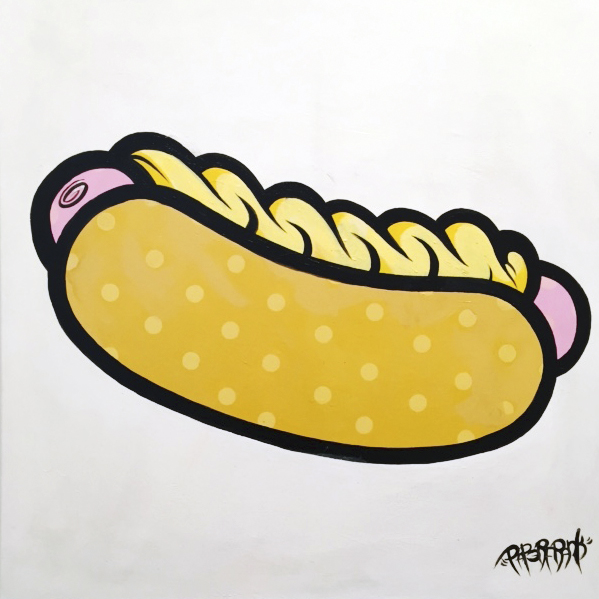 "HOT DOG 1 - ACRYLIC ON CANVAS 30"" X 30"" - $1000"