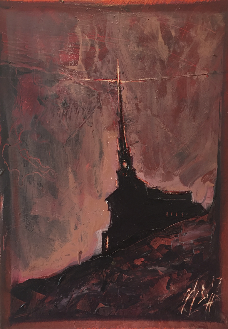Zach Briggs – Church – Oil on Panel – 7 x 5 inches - $200