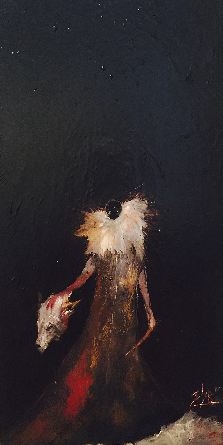 Zach Briggs – Ritual Kill – Oil on Panel – 20 x 10 inches - $400