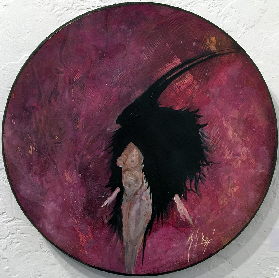 Zach Briggs – Shape Shifter – Oil on Wood – 15 inch diam - $400