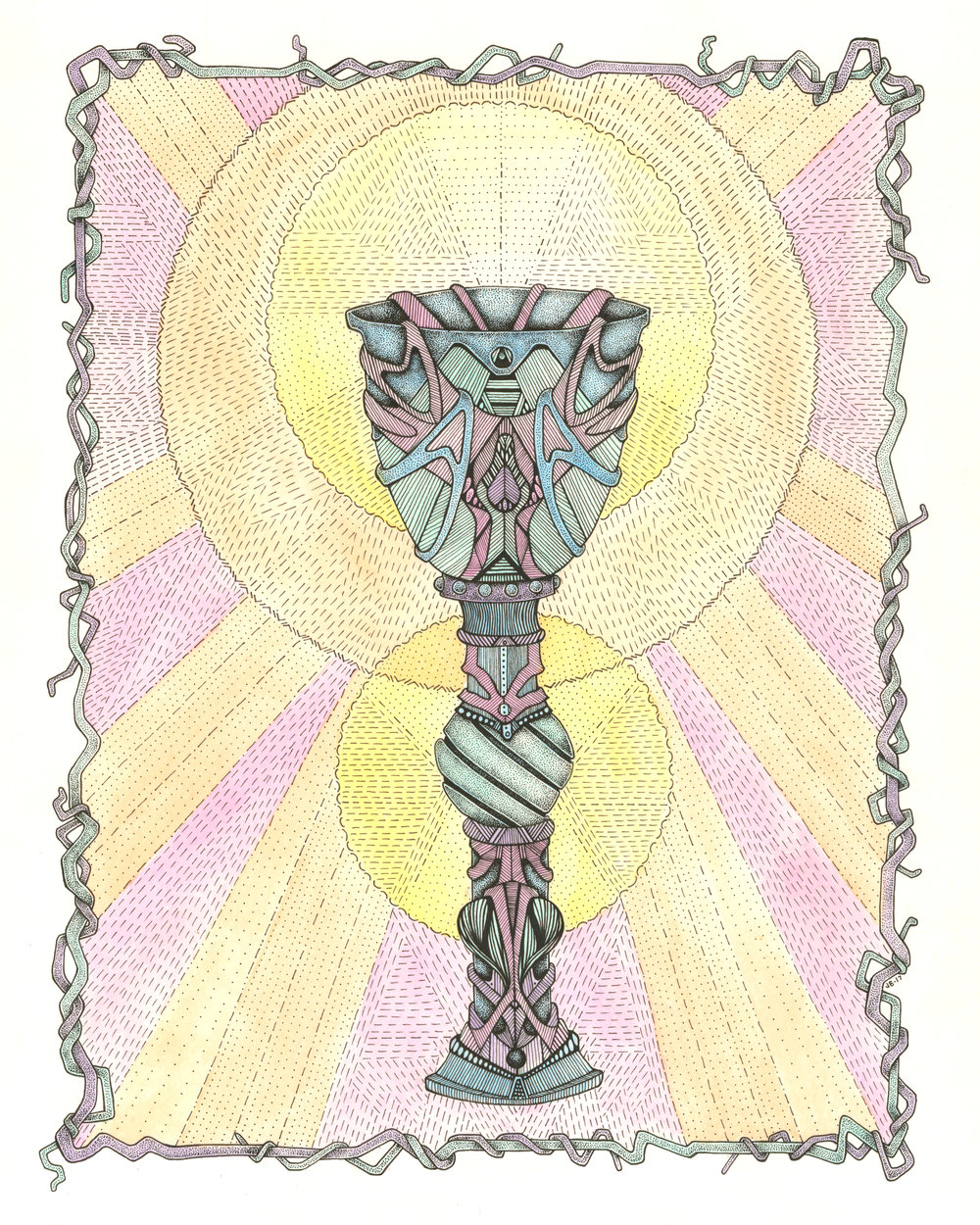 Justine Briggs – Chalice – Ink & Watercolor on Paper – 25 x 21 inches - $350