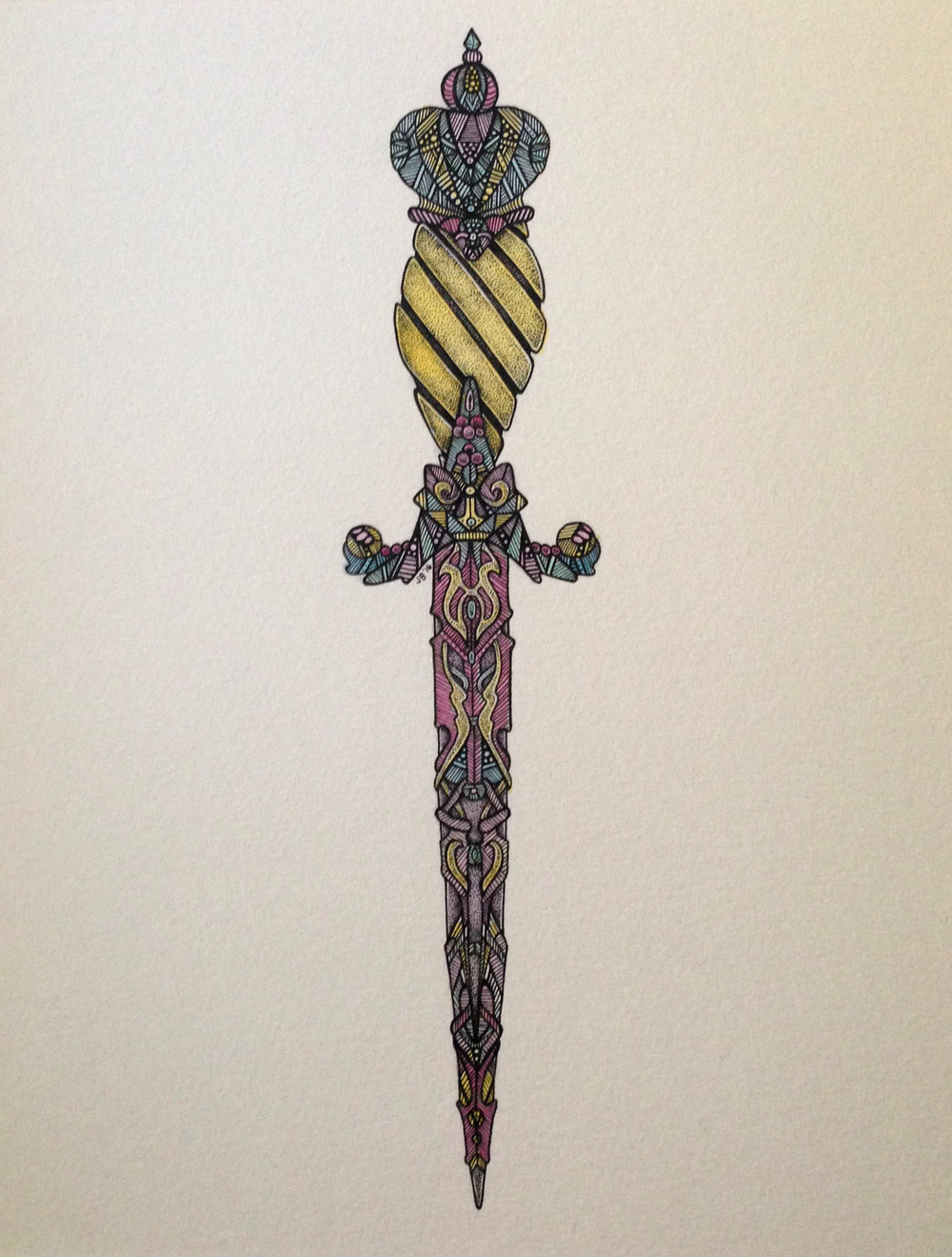 Justine Briggs – Ritual Knife I – Ink & Watercolor on Paper – 15 x 13 inches - $250
