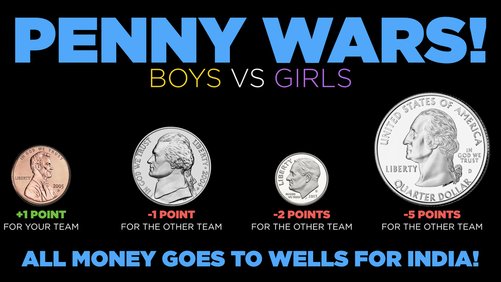 It's easy! Put all the money you've raised in to the container with your gender marked on it, and we'll make sure pennies count for your team, and everything else counts against the other team!