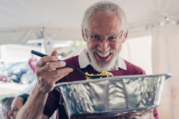 Chris DeWelt, one of our elders, REALLY enjoyed breakfast last year!