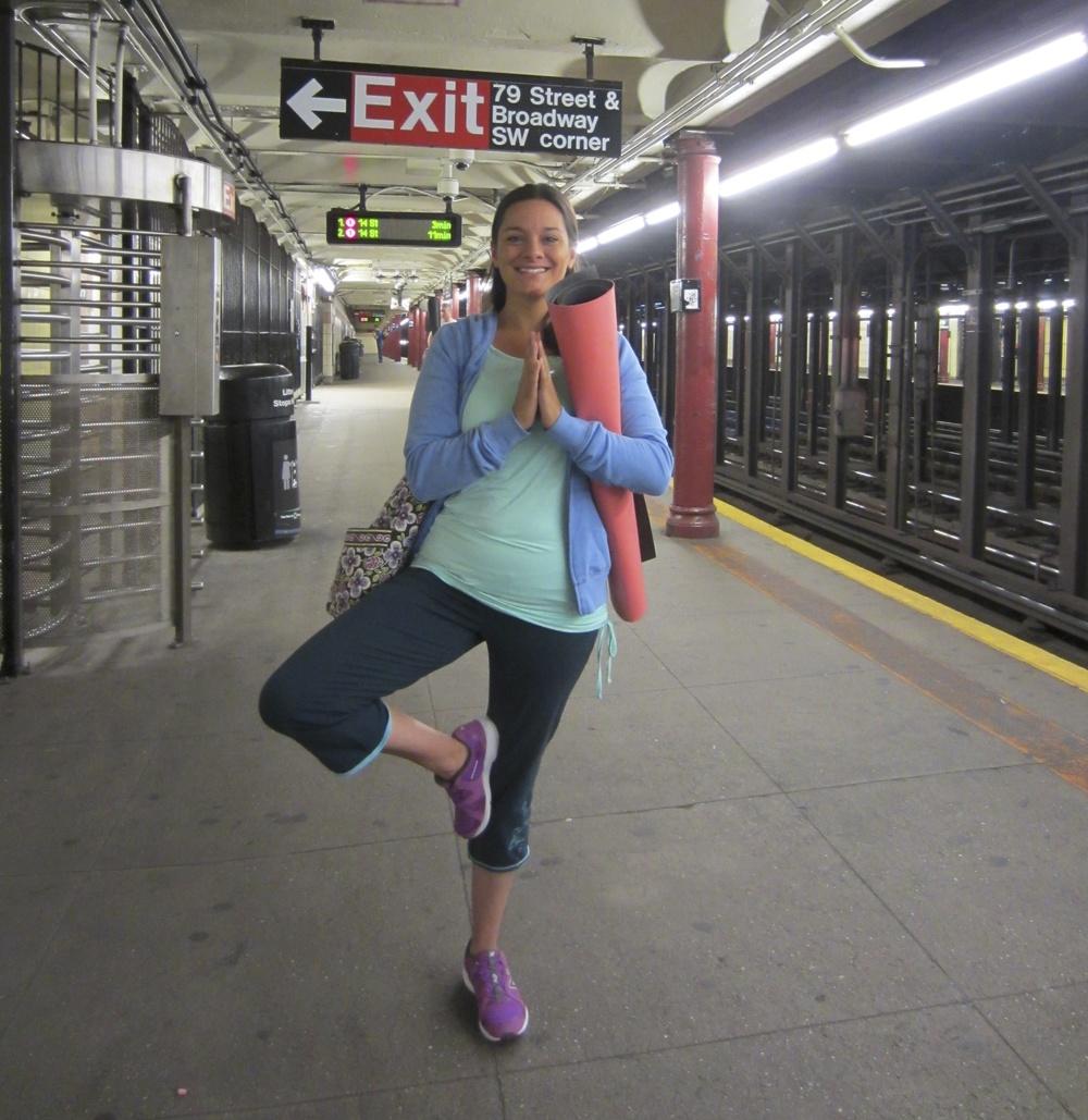 Jessica bustin' a yoga pose, NYC 2013
