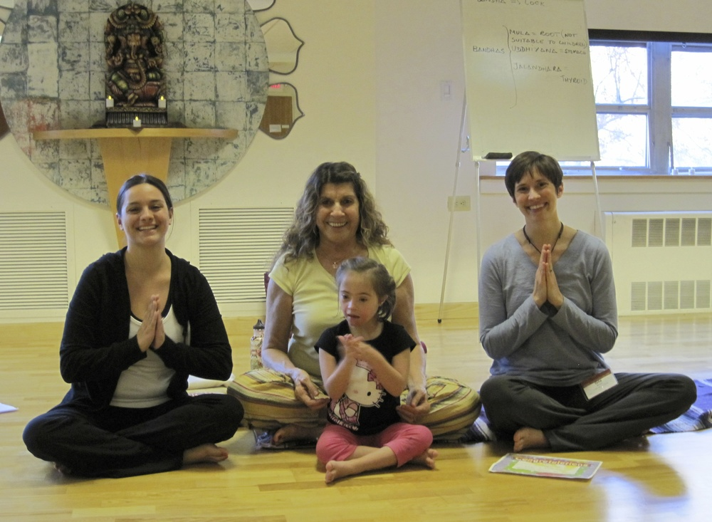 Jessica, Sonia Sumar, Gita & Jaylin at Jessica's first Yoga for the Special Child® training in 2010.
