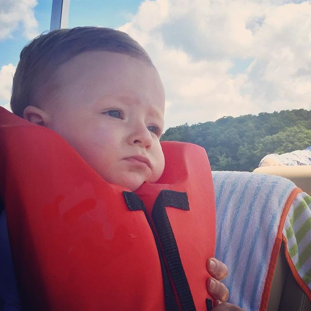 Tom having the time of his life on his first boat ride. 😏
