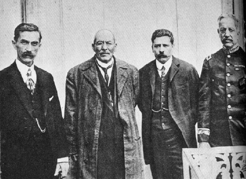 From left Manuel Mondragon, Victoriano Huerta, Felix Diaz, and Aureliano Blanquet