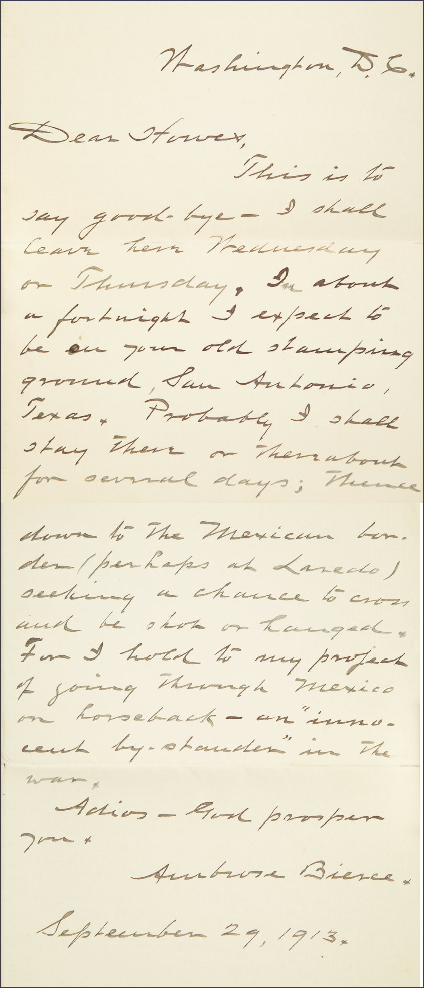 "Bierce's letter to a friend saying ""Good Bye"""