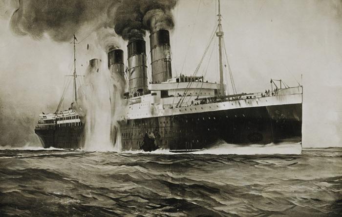 The torpedoed  RMS Lusitania
