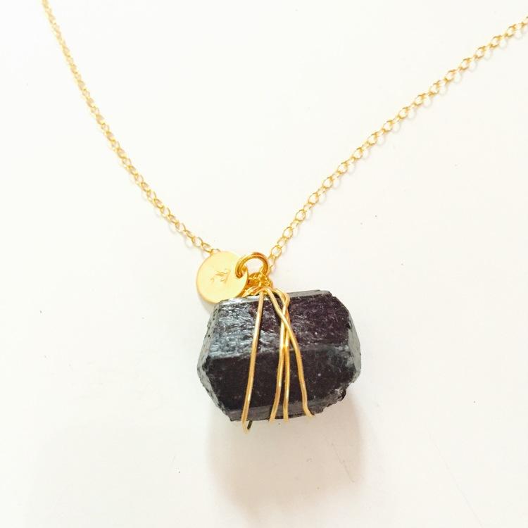 The rock necklace black tourmaline lili t california the rock necklace black tourmaline aloadofball Gallery