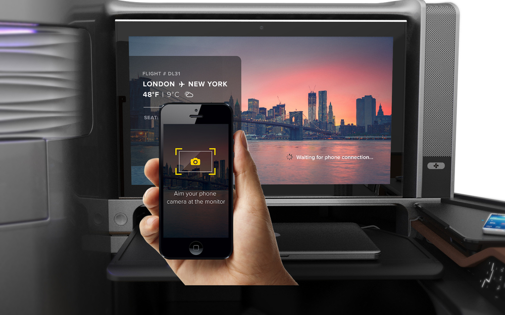 LIGHT ID technology is used to establish the connection with the phone. When connected, screen automatically transitions to Welcome the passenger.
