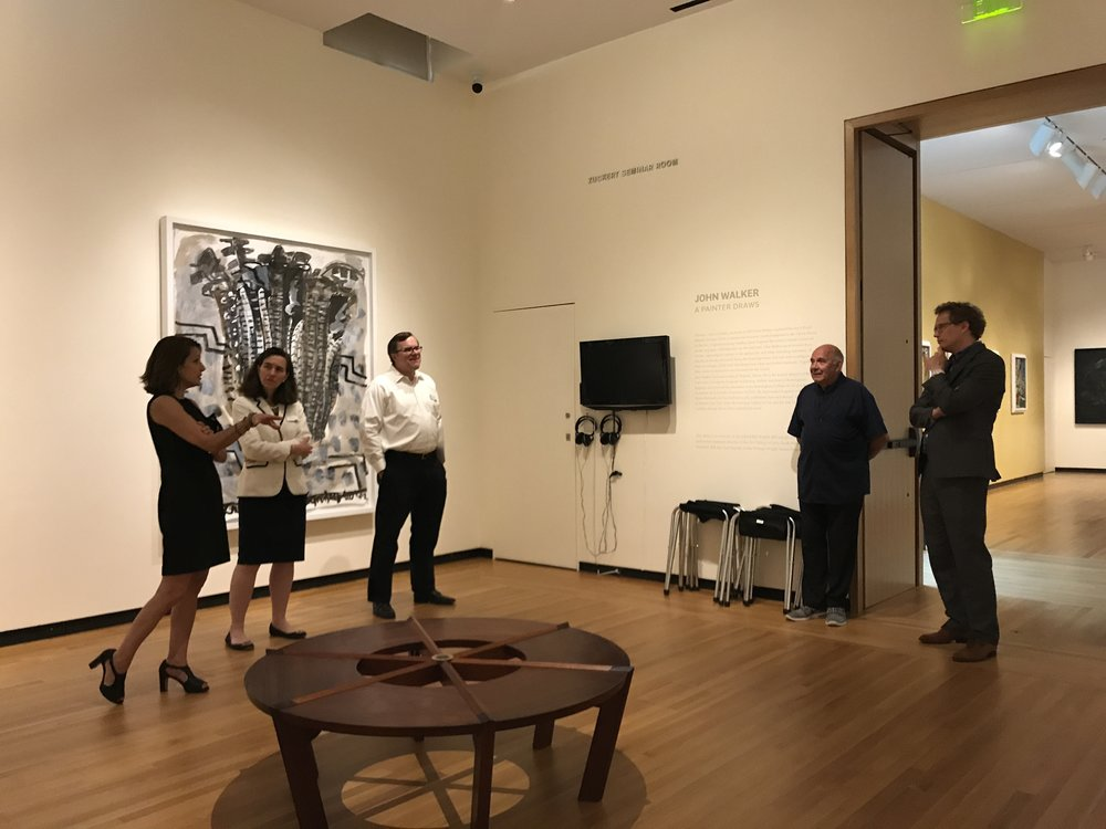 John Walker speaking about his exhibition with Bowdoin curator Joachim Homann and museum co-director Frank and Anne Goodyear.  CMCA director Suzette McAvoy is at left.