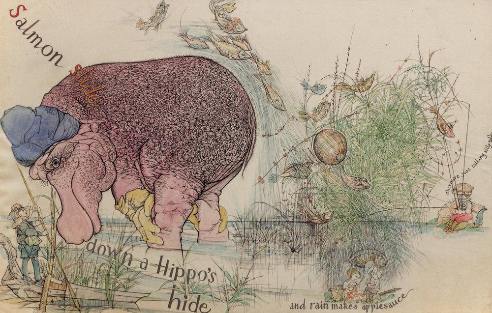 Rain Makes Applesauce (Salmon slide down a Hippo's hide)