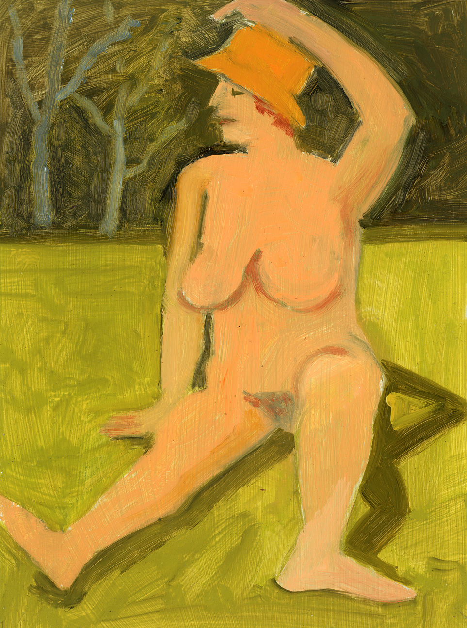 Nude Seated on Grass with Yellow Hat