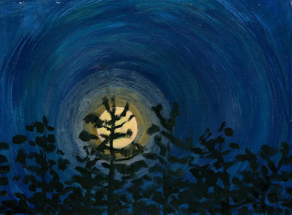 Full Moon, Dark Blue Sky, Sept. 2015