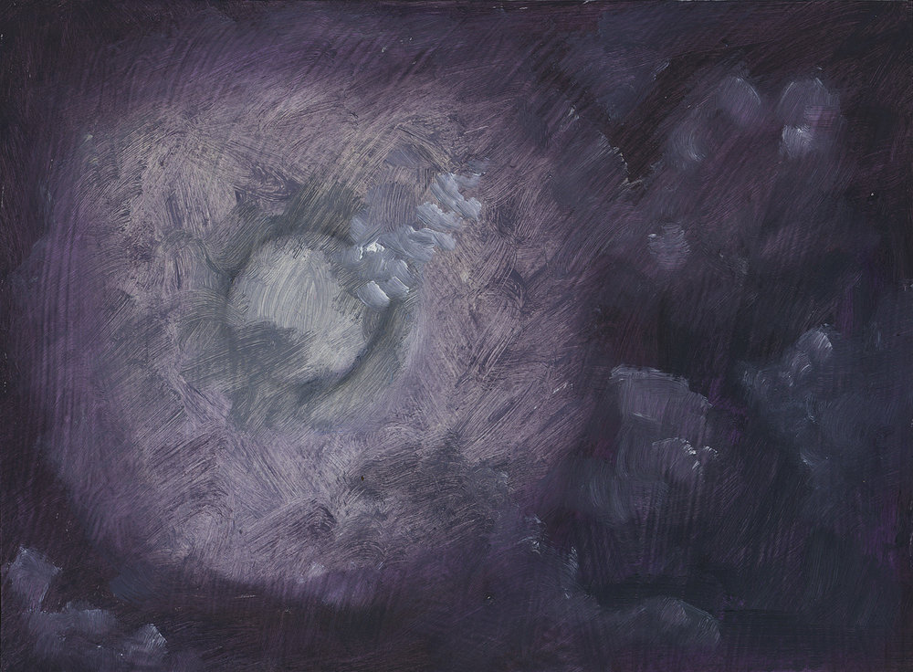 Cloudy Moon Gray Sky