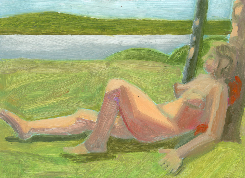 Reclining Nude Leaning on Tree