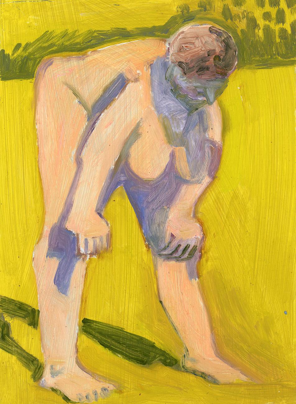 Standing Nude, Hands on Knees