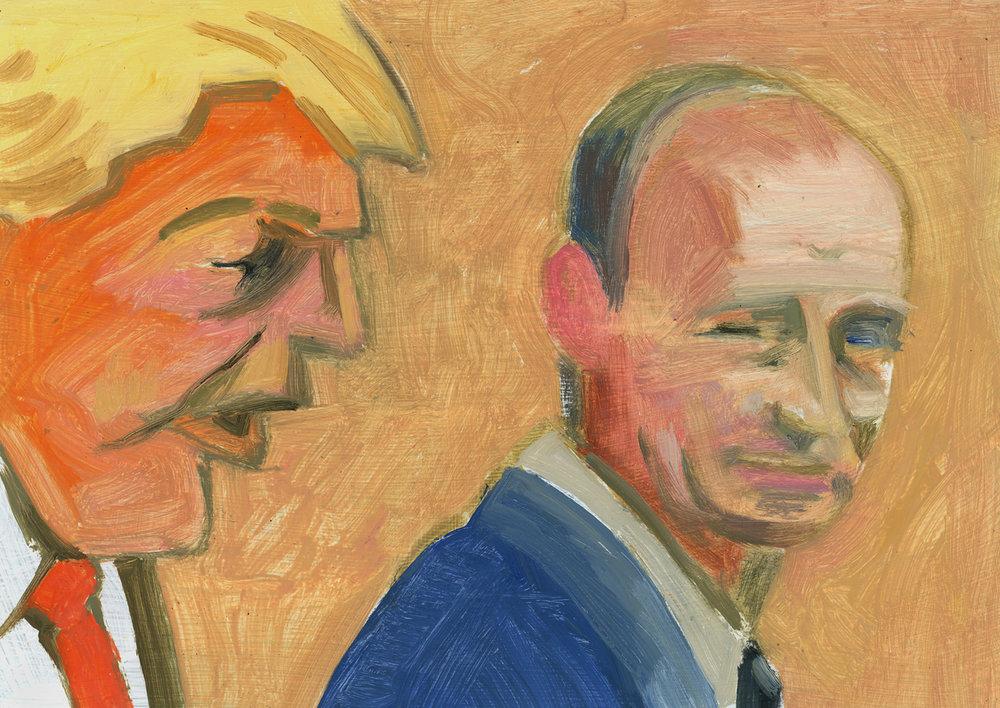 Donald Trump + Vladimir Putin (Looking over Shoulder)