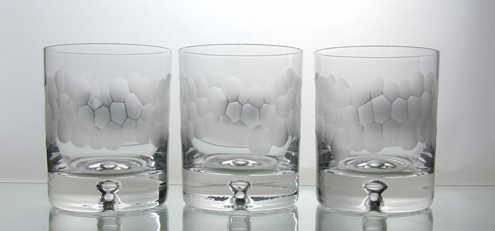 Hand cut glass tableware
