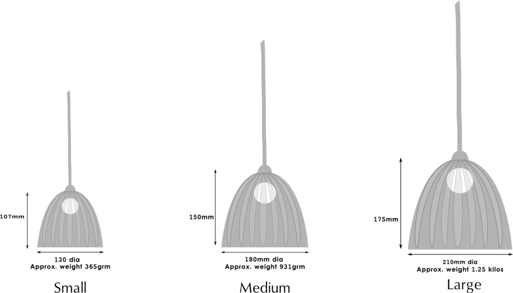 Handblown beanie glass lampshade sizes