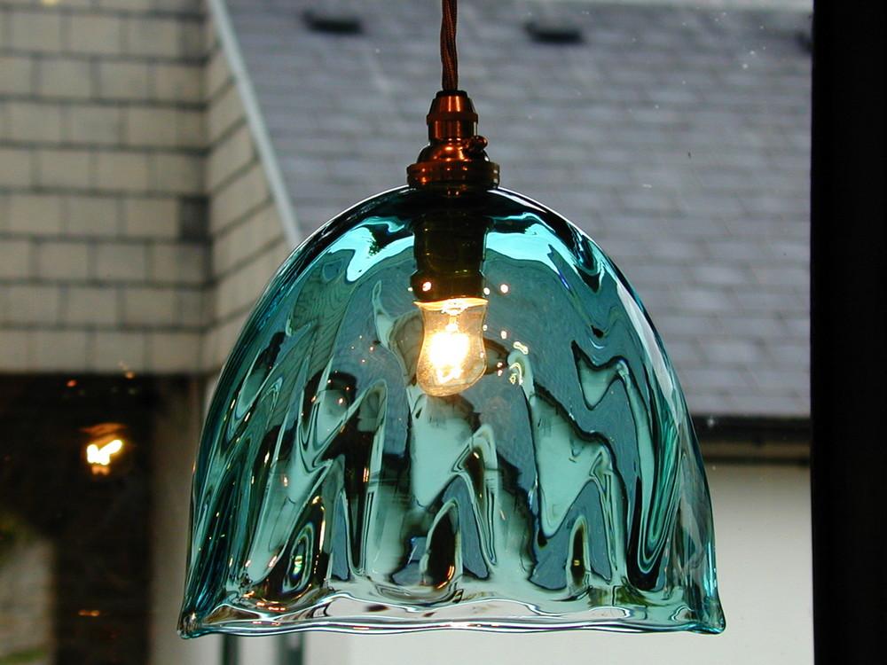 Aquamarine glass pendant lampshade.