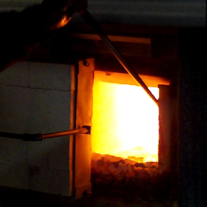 The glass furnace used for glass making lessons at Eirian Studio Glass in Hay on Wye